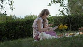 一个愉快的母亲和女儿景色照片在册页读了一本书 家庭在一顿野餐的一个城市公园在一个温暖的晚上在 股票视频
