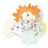 一个愉快的狮子家庭的抽象水彩例证 图库摄影