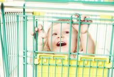 一个愉快的逗人喜爱的小女孩的画象一件白色礼服的在有购物的一辆台车坐白色背景 库存图片