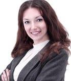 一个成功的女商人的特写镜头画象 免版税库存照片