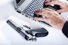 在行动的计算机罪犯 库存照片
