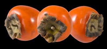 一个成熟柿子特写镜头的被隔绝的图象 库存照片