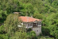 一个房子在梅利尼克,保加利亚的一张鸟瞰图 免版税库存照片