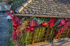 一个房子的圣诞节装饰在小的法国,史特拉斯堡 图库摄影