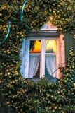 一个房子的墙壁有用常春藤盖的窗口的 免版税图库摄影