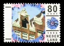 一个房子的细节在阿姆斯特丹,假日serie,大约1996年 库存图片