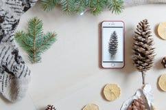 一个手机和杉木锥体的顶视图 冬天心情 平的位置 免版税库存图片
