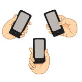 一个手机的示范显示 库存照片