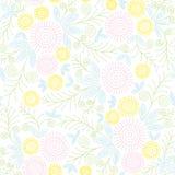 一个抽象蒲公英花和花卉元素的无缝的葡萄酒样式 免版税库存图片