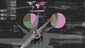 一个指南针的动画反对对一块财务数据仪表板的 皇族释放例证
