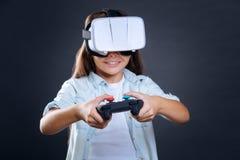 一个控制台的选择聚焦电子游戏的 库存图片