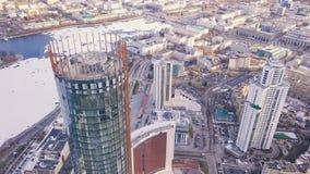 一个摩天大楼和现代城市的顶视图在冬天 夹子 惊人的城市风景 库存照片