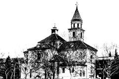 一个教会的黑白剪影在格拉纳达,西班牙 图库摄影