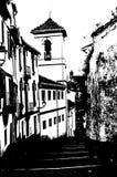 一个教会的黑白剪影在格拉纳达,西班牙 免版税库存照片