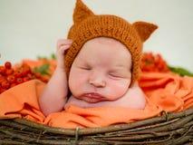 一个新出生的特写镜头的画象 新出生 库存照片