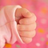 一个新出生的婴孩的一点手 宏指令 免版税库存照片