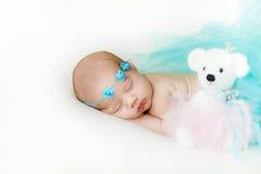 一个新出生的婴孩的照片卷曲了睡觉在毯子 免版税图库摄影