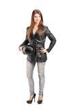 一个新女性骑自行车的人的全长纵向皮夹克的 库存照片