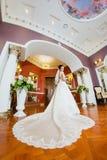 一个新娘的画象一件礼服的有一列长的火车的 免版税库存照片