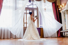 一个新娘的画象一件礼服的有一列长的火车的 免版税图库摄影