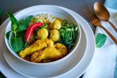一个新家做了泰国米线用草本和鸡汤 库存图片