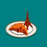 一个新月形面包的平的例证在巴黎 库存图片