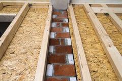 一个新的乡间别墅站点的木框架墙壁的建筑 联合国 免版税库存照片