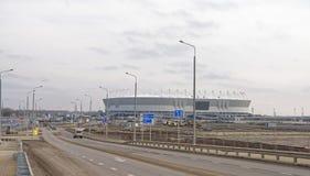一个新的体育场的建筑2018年世界杯足球赛的 在mo之前 库存照片