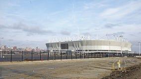 一个新的体育场的建筑2018年世界杯足球赛的 库存图片