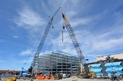 一个新的大厦的建筑工地在克赖斯特切奇新西兰 免版税库存照片