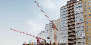 一个新的大厦的建造场所拼贴画 免版税库存图片