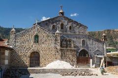 一个新的教会的大厦在圣胡安La拉古纳村庄 免版税图库摄影
