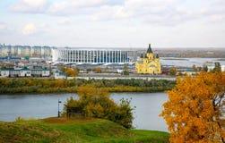 一个新的橄榄球场的建筑在下诺夫哥罗德 免版税库存照片