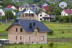 一个新的现代住宅房子的鸟瞰图建设中 免版税库存照片