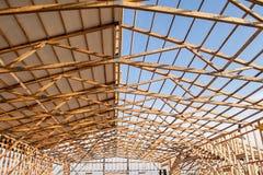 一个新的谷仓的Framming建设中 免版税库存图片