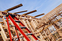 一个新的谷仓的Framming建设中 库存图片