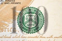 一个新的100美金的宏观射击 免版税库存图片