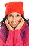 一个新美丽的女孩的纵向冬天样式的 图库摄影
