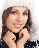 一个新美丽的女孩的纵向冬天样式的 免版税图库摄影