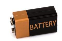 一个方形的电池,隔绝在白色背景 库存照片