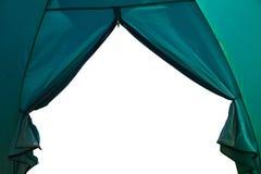 从一个旅游帐篷的看法到白色背景 免版税库存图片