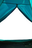 从一个旅游帐篷的看法到白色背景 免版税图库摄影