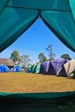 从一个旅游帐篷的看法 免版税图库摄影