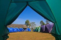 从一个旅游帐篷的看法 免版税库存图片