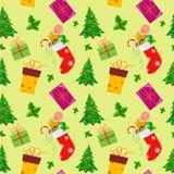 一个无缝的样式与冷杉木和礼物的圣诞节假日仿照舱内甲板样式 库存例证