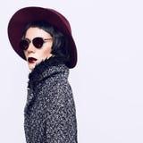 一个时髦的外套和帽子的迷人的时尚夫人 例证百合红色样式葡萄酒 库存图片