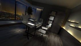 一个时髦的家庭办公室的空的黑暗的内部 库存图片