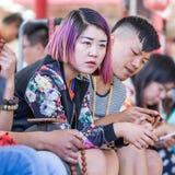 一个时兴的年轻中国女孩的画象,北京,中国 免版税库存图片