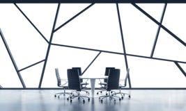 一个明亮的当代全景办公室空间的一间会议室与白色拷贝空间在窗口里 概念的高度公开宣称 库存例证