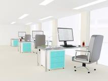 一个明亮的现代最低纲领派办公室的内部 免版税库存图片